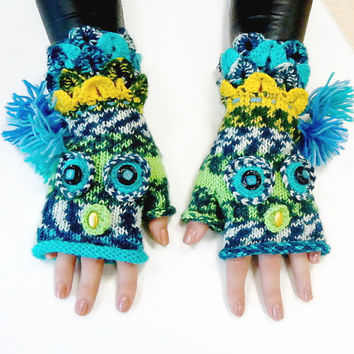 Knit colorful Fingerless gloves, Fngerless glove mittens,  Owl gloves, Boho Crochet  knit glove mittens, Girl's wool fingerless gloves