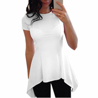 New Style Women Summer Blouse Fashion Ladies Short Sleeve O-neck Irregular Hem Peplum Waist Slim Fit White Tops Shirt