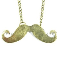Small Handlebar Mustache Necklace Hipster Beard NE01 Retro Statement Pendant
