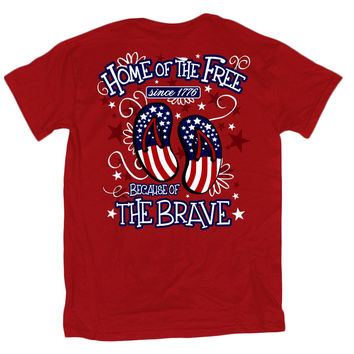 Sweet Thing Home of the Free Because of the Brave USA American Flag Flip Flops Girlie Bright T Shirt