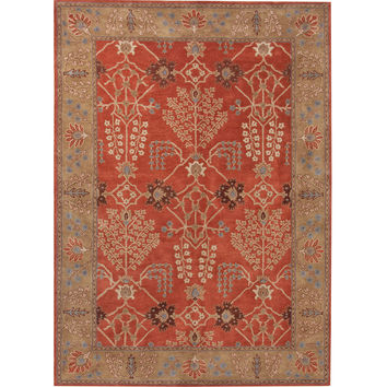 Jaipur Rugs Classic Arts And Crafts Pattern Orange/Brown Wool Area Rug PM51 (Rectangle)
