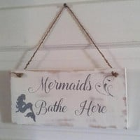 Mermaid bathroom sign - Rustic Mermaid sign - Beach bathroom sign - Rustic bathroom sign - Mermaid decor  - Beach decor - Christmas gift