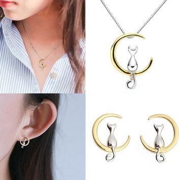 Gold or Silver Tone Cat/Crescent Moon Stud Earrings + Necklace Jewelry Set