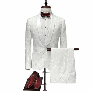White Wedding Tuxedos For Men Slim Fit Mens Printed Suits