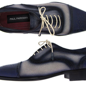Paul Parkman Men's Captoe Oxfords - Navy / Beige Hand-Painted Suede Upper and Leather Sole