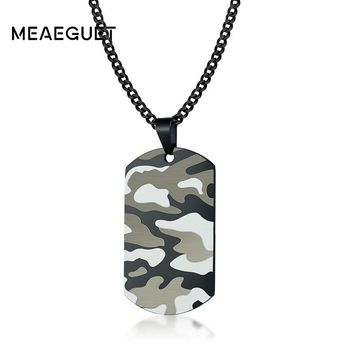 Personalized Dog Tag Military Camouflage Necklaces Mens Stainless Steel Pendant Punk Black Chains Geometry Kolye Erkekler 24""