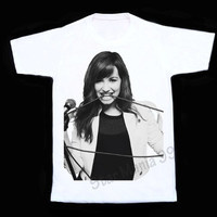 Demi Lovato T Shirts Demi Lovato TShirts Pop Rock T Shirt Short Sleeves White Tee Women T-Shirt Unisex T-Shirt White T Shirt Size S,M,L,XL