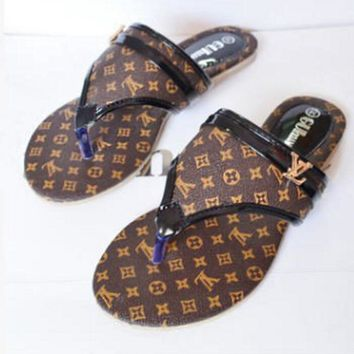 LV Louis Vuitton Fashion Slippers Women Leisure Flat Sandal Slipper Shoes Brown