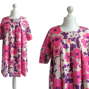 Vintage Smock Mini Dress - California Vintage Dress - Pink And Purple Hippy Dress