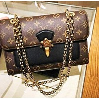 Louis Vuitton Women's Classic Casual Texture Print Color Crossbody Chain Bag Shoulder Bag Square Bag Black