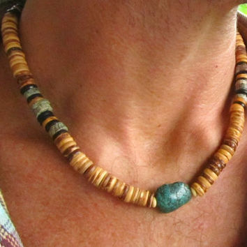 Real Turquoise ~ Coconut ~ Yak Bone Surfer Style Necklace for Men / Mala Style Hippie Boho Festival Necklace and Bracelet