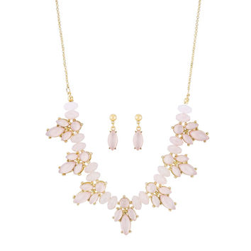 Lyla Pink Statement Floral Gold Necklace And Drop Earring Set