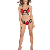 Two Tone Triple Strapped Diamond Shaped Bikini Set