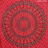 Red Psychedelic Mandala Design Hippie Tapestry Wall Hanging on RoyalFurnish.com