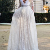 White Plunge Neck Sheer Embroidery 3/4 Sleeve Prom Dress
