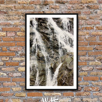 Landscape photography, Waterfall Art Print, Waterfall, Water, Waterfall Wall Art, Landscape Print, Large Printable Poster, Instant Download