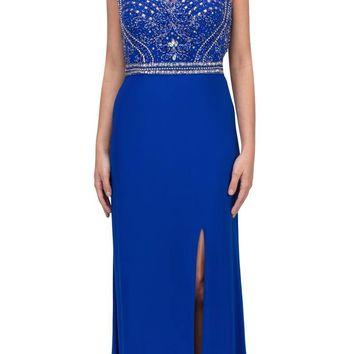 Rhinestone Embellished Evening Gown Sleeveless with Slit Royal Blue