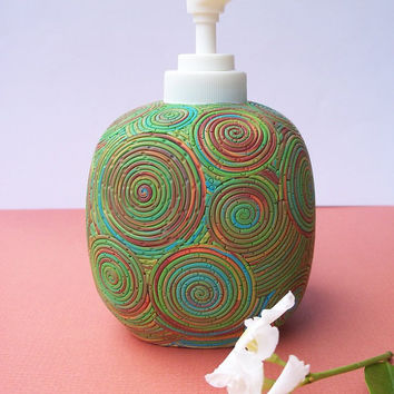 Polymer Clay Soap/Lotion Dispenser, pump bottle, green blue brown spirals