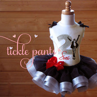 Michael Jackson Birthday Tutu Outfit- Includes embroidered top and ruffled tutu- - Black, silver and red- More patterns and colors available