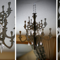 Steel Chandelier with Vintage Chandelier by littlefishdesigns