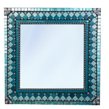 Mosaic Wall Mirror in Teal, Aqua, Turquoise with Silver Accents