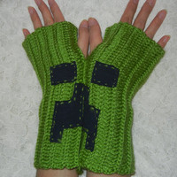 Minecraft Mittens,Crochet Fingerless Mittens, Fingerless Gloves,Green Mittens, Chunky Crochet Mittens, Crochet Gloves,