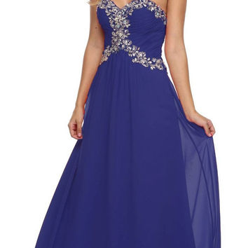 Studded Corset Bodice Long Strapless Royal Blue Formal Dress