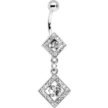 Clear Gem I'm a Square and I Don't Care Bottom Mount Dangle Belly Ring