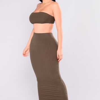 Aceline Ribbed Skirt Set - Olive