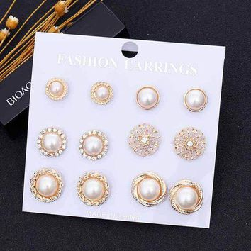 ONETOW TOMTOSH 6 Pairs/Set Gold Color Flower Hollow Stud Earring Vintage Crystal Simulated Pearl Earrings Set For Women Wedding Jewelry