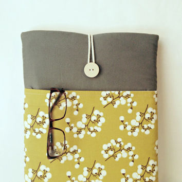 Yellow Kindle Fire HD 8 Sleeve Kindle Fire HD 10 Case, Cotton Tablet Cover,Canvas Laptop Bag, Floral Flower Grey Women Girl Sac MadeByJulie