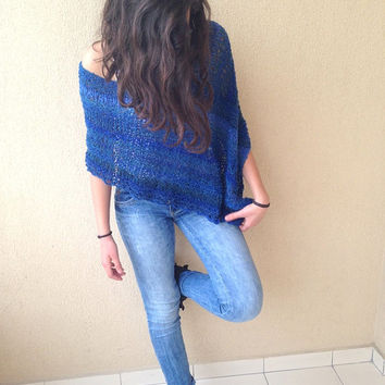 Mohair shawl, blue wrap, women poncho,  mohair shrug, knit poncho, blue shawl, spring trends