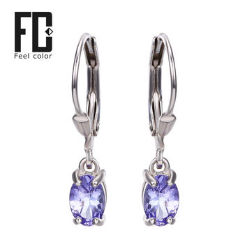 Genuine Tanzanite Diamond Gemstone Clip Earrings Jewelry Real Pure 925 Solid Sterling Silver 2015 Brand New Charm Gift For Women