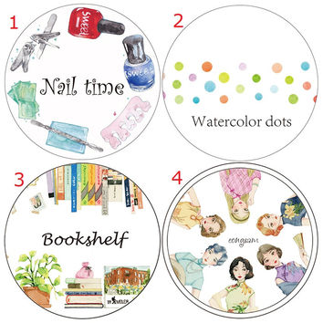Watercolor Dot Neil Time Bookshelf Cheongsam Girl Washi Paper Tape Masking Tape Stickers Decorative Sticker Adhesive Tape