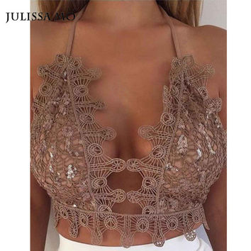 Sinati Gold Sequin Bralet Crochet Crop Top Summer 2016 Sexy Backless Beach Party  Cami Lace Bralette Women Tank Top