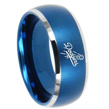 10mm LA Dogers MLB Baseball Dome Brushed Blue 2 Tone Tungsten Men's Wedding Ring