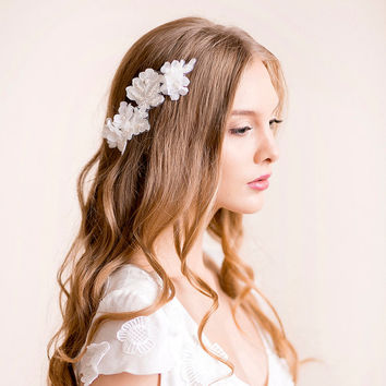 Wedding Headpiece of Lace and Silk Flowers - Lace Headpiece with Silk Flower - Bridal Headpiece - Wedding Hair Accessory - Ivory, Soft white