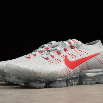 Nike Air VaporMax Flyknit Pure Platinum Red Wolf Grey OG 849558 6 189 Women And Men Sneaker