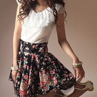 Lace Split Joint Floral Short Sleeve Dress BY10120314 for sale