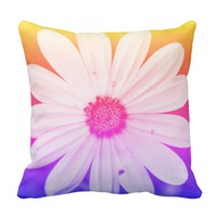 Happy Orange Daisy Flower Cushion Throw Pillow