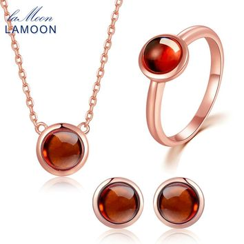 LAMOON 18K Rose Gold 925 Sterling Silver Jewelry Jewelry Set 100% Natural Round Red Garnet Necklace Earrings Ring Set V034-1