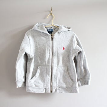 Toddler Ralph Lauren Polo jacket grey hooded zip-up sweatshirt hoodies fleece lining size 3 years old