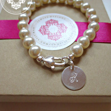 Swarovski Pearl bracelet with Sterling Silver Lobster clasp, Womens accessories, Bridal Accessories, Pearl Bracelet