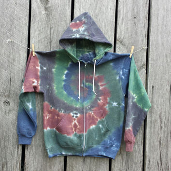 Adult Tie Dye Sweatshirt, Adult Size Medium, Camo Colored Zip Up Hoodie
