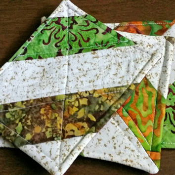 quilted coasters, handmade coasters, set of three