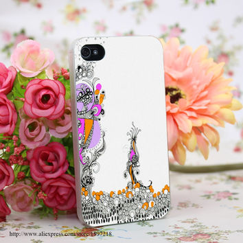 805108Y Ink Funky Girl Hard Transparent Cover Case for iphone 4 4s 5 5s 6 6s Clear Cell Phone Cases