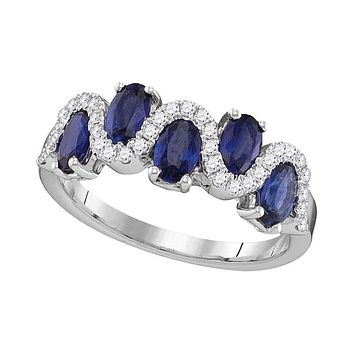 18kt White Gold Womens Oval Blue Sapphire Diamond Band Ring 1-7-8 Cttw