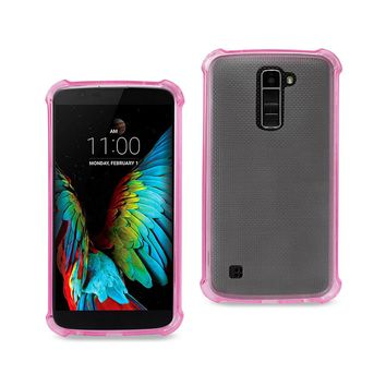 LG K10 Clear Bumper Case With Air Cushion Protection (Clear Hot Pink)