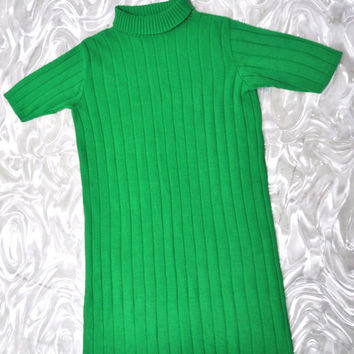 VTG 60's Sweater Knit Turtle Neck shift Dress L Green