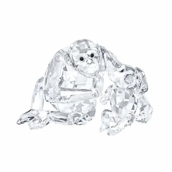 Swarovski Clear Crystal Set of 2 Figurines CHIMPANZEE MOTHER WITH BABY #5063689